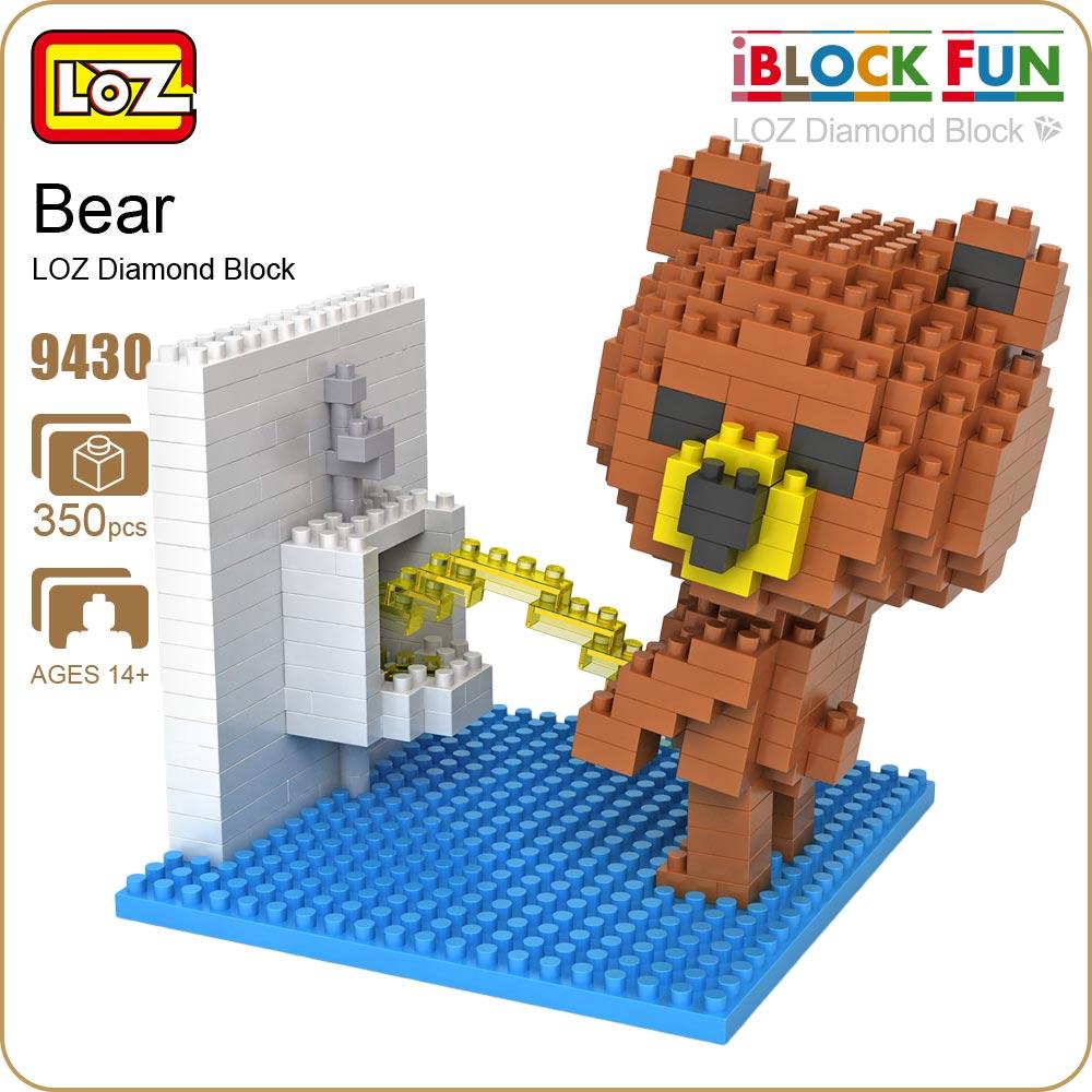 LOZ Figures Brown Bear WC Pee Urinate Box Diamond Block Toys Builds Cartoon Fun Small Bricks Cube DIY Animal Anime Figurine 9430 наматрасники pali наматрасник pee keeping