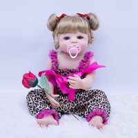 23'' Reborn Baby Full Body Silicone DIY Toys blue eyes Princess With Nice flower Playmates Baby Doll For Kids gift Boneca Reborn