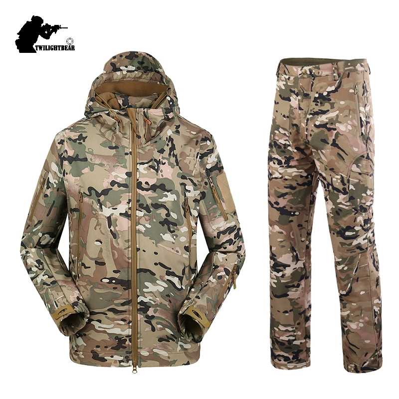 5f97300a7d478 Military TAD Camouflage Shark Skin Soft Shell Tactical Suits Winter Autumn Waterproof  Fleece Combat Gear Men clothing suit BF05