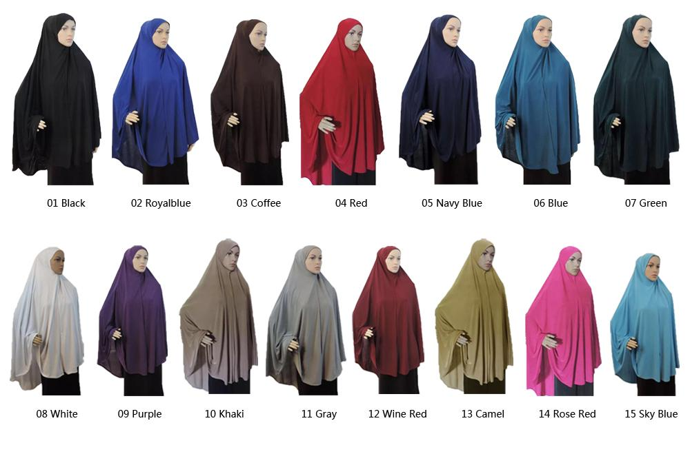Full Cover Muslim Women Prayer Dress Niquab Long Scarf Khimar Hijab Islam Large Overhead Clothes Jilbab Ramadan Arab Middle East
