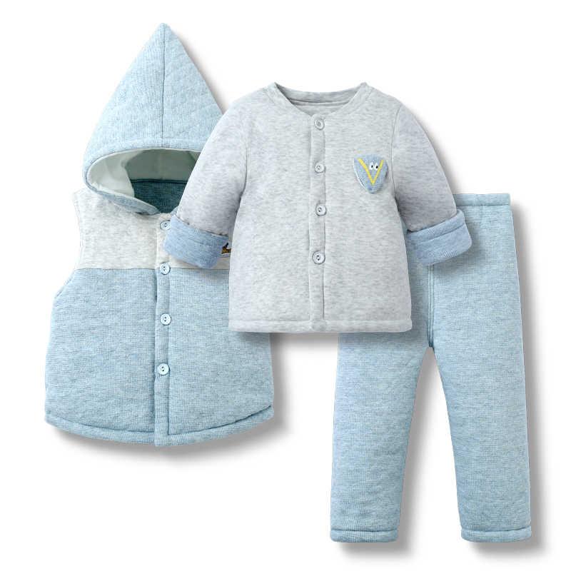 49efccec7b2f 3pcs(Jacket+Tops+Pants) Winter Baby Boys Clothes Set Infant Boy Clothing