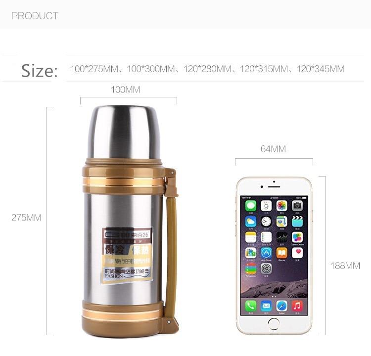 Big Thermos Su Şüşəsi Flask Paslanmayan Polad Metal Xarici - Mətbəx, yemək otağı və barı - Fotoqrafiya 5