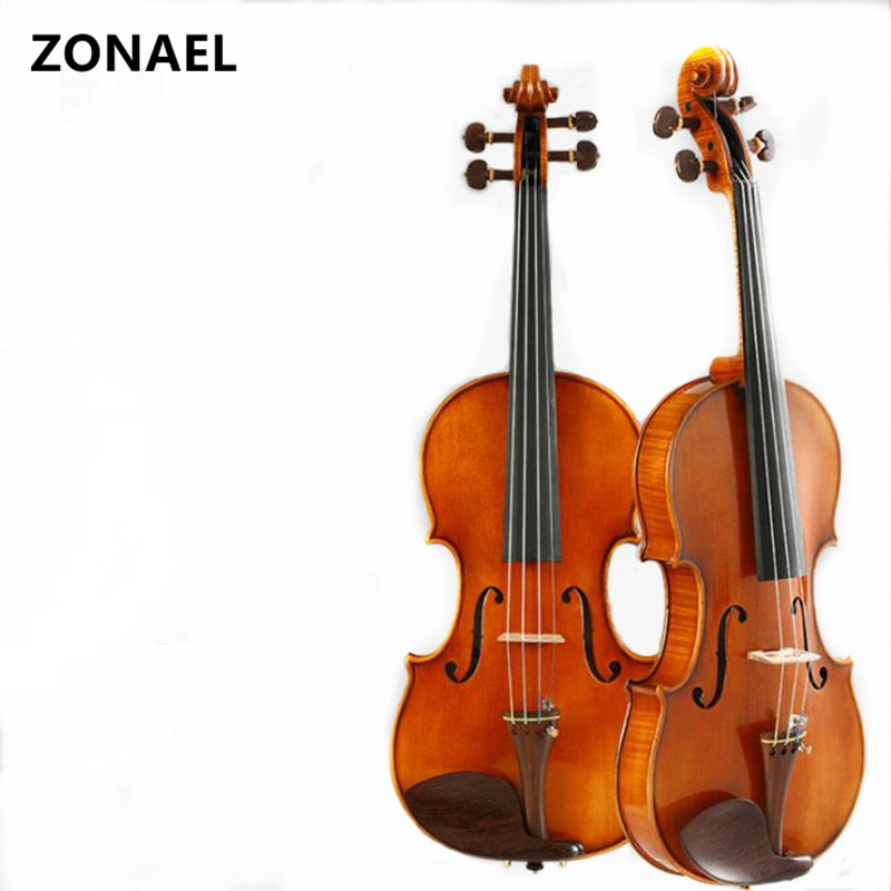 ZONAEL beginner Violin 4/4 Maple Violino Handmade acoustic violin environmental protection paint Spruce ebony V009 brand new handmade colorful electric acoustic violin violino 4 4 violin bow case perfect sound
