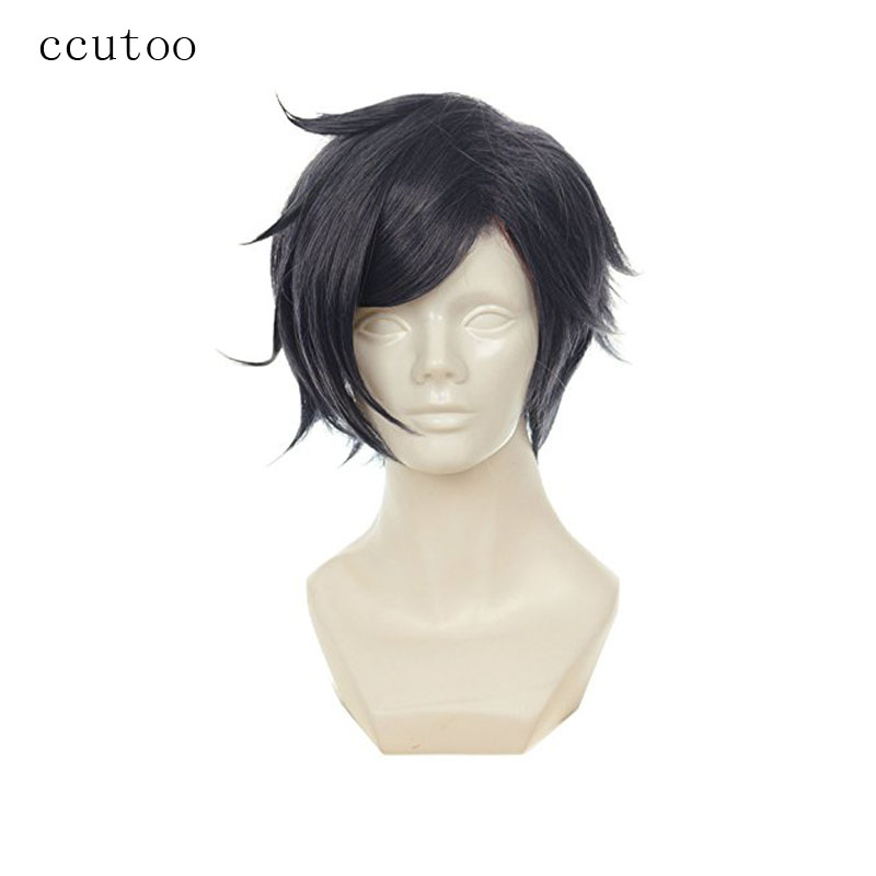 ccutoo 12 Mens Grey Short Shaggy Layered Synthetic Hair High Temperature Fiber Cosplay Full Wigs