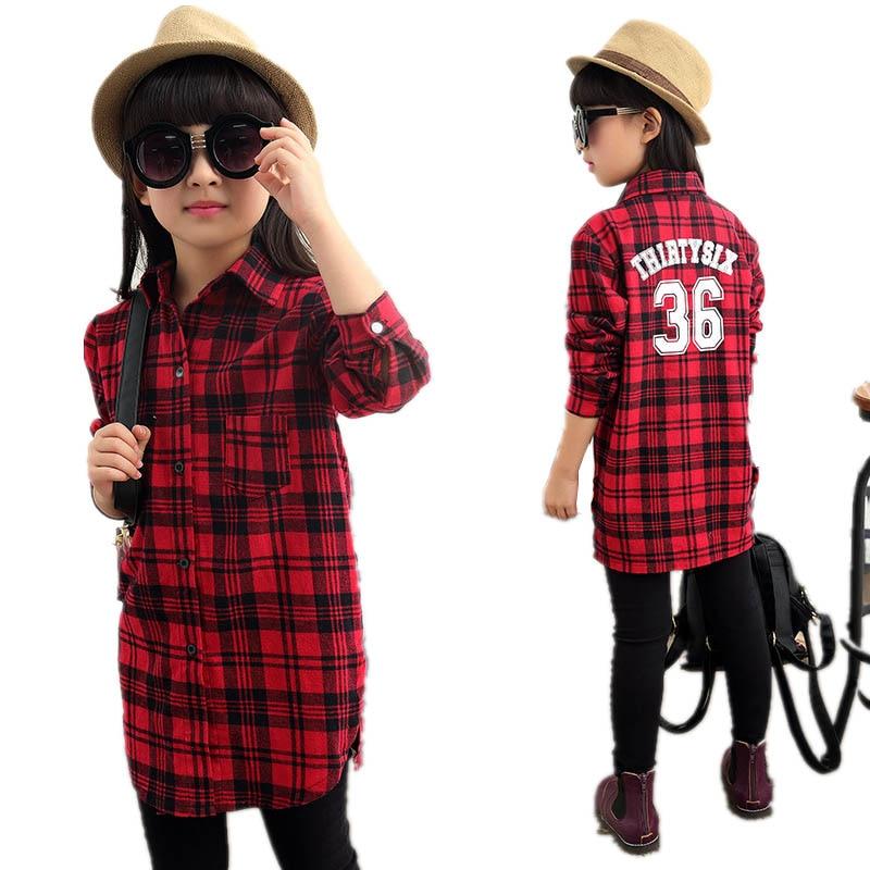 Girls Clothing Autumn Fashion Girls Plaid Shirt Girls ...