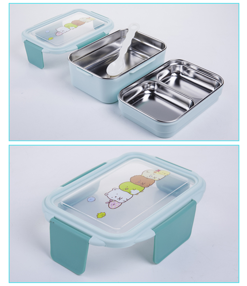 TUUTH Cartoon Lunch Box  Stainless Steel Double Layer Food Container Portable for Kids Kids Picnic School Bento Box B5