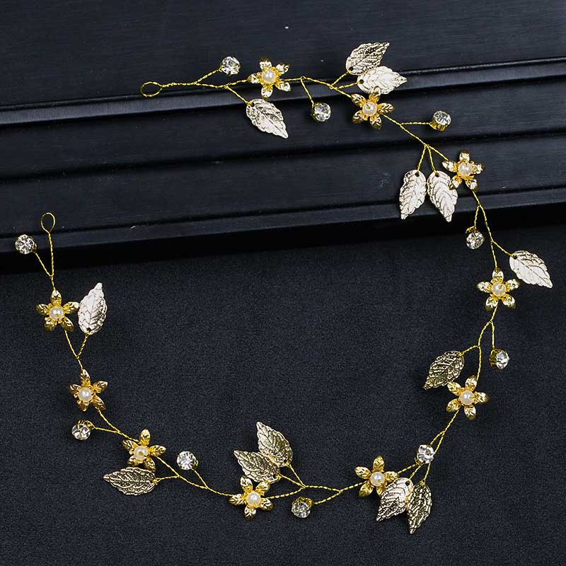 Women Head Chain Jewelry Rhinestone Golden Leaf Flower