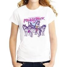 Design A Shirt Print Pack Siberian Husky Women O-Neck Short-Sleeve Tee