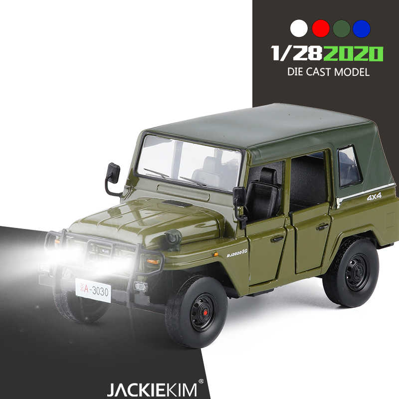 New 1/28 Scale Beijing 2020 JEEP SUV Car Toys Diecast Metal Pull Back Sound Light Car Model Toy For Children Gift Toys