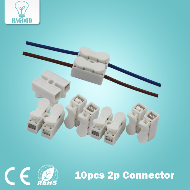 10pcs 2p Spring Connector wire with no welding no screws Quick Connector cable clamp Terminal Block 2 Way Easy Fit for led strip excellway ch2 quick wire connector terminal block spring connector led strip light wire connector