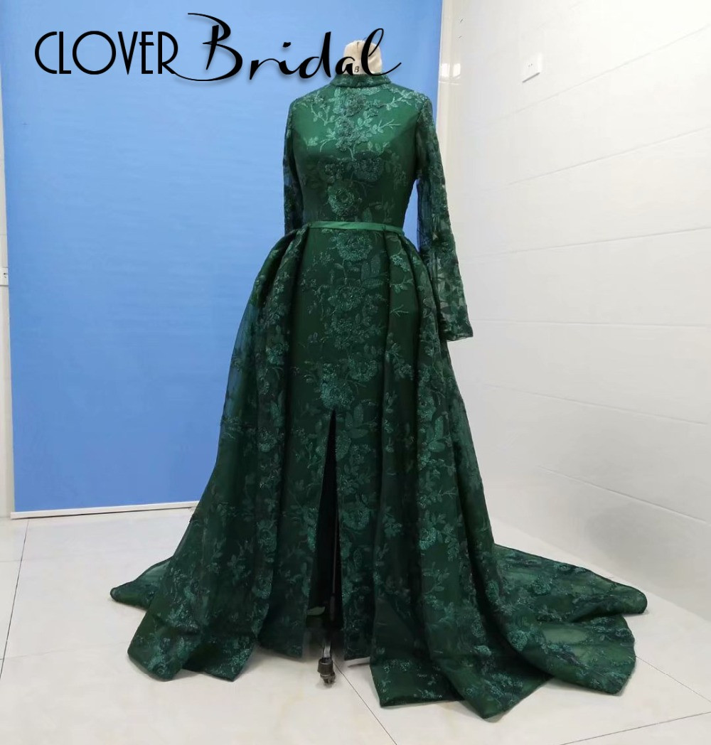 2019 real photos hunter green lace long sleeves front slit sweep train zipper back high neck dubai prom dresses