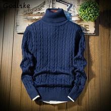 GODLIKE Turtleneck Sweaters Men Solid Long Sleeve Pullovers Men Knitwear Jumpers Jersey Hombre Cheap Winter solid color Sweaters
