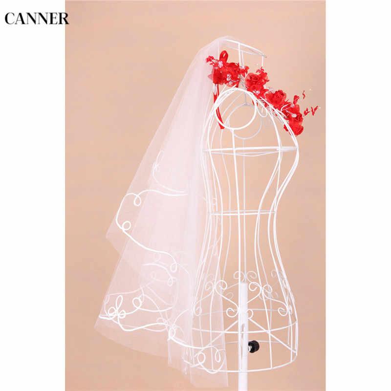 Canner Delle Donne di Cerimonia Nuziale di Tulle Bianco Lvory Uno Strato di 1.5 Metro Veli da sposa Accessori Del Merletto Del Bordo Del Nastro Bianco