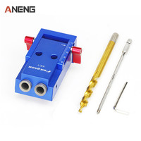 1 Set Mini Pocket Hole Jig Kit Screwdriver Step Drill Bit Wrench With Box For Woodworking