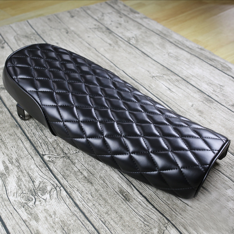 Retro Modified for CG Honda Yamaha Cafe Racer Motorcycle Seat Cushions Black waterproof  diamond flat   seat Length 64CM