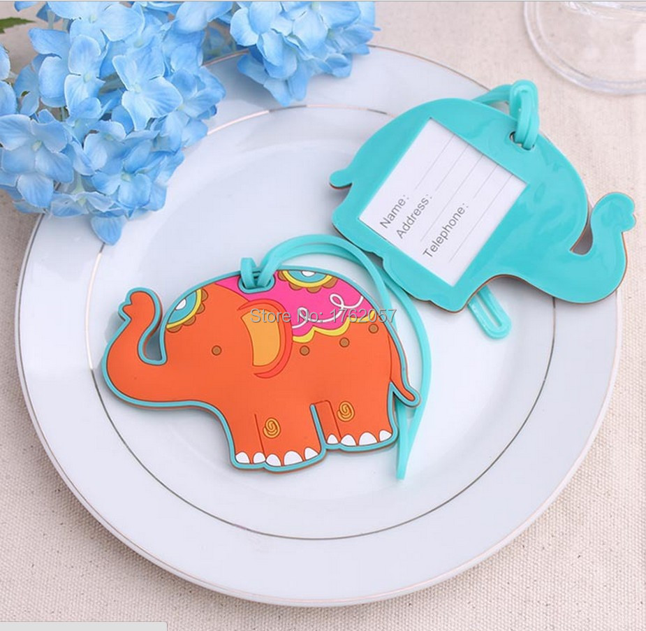 The guests present Lucky Baby Elephant Luggage Tag PVC cartoonized travel tag baby shower favor 12pcs/lot