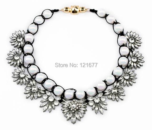 2014 New Brand Pearl Fashion Crystal Necklaces Pendants Gem Chunky Choker Flower Collar Statement Jewelry For Women N0491