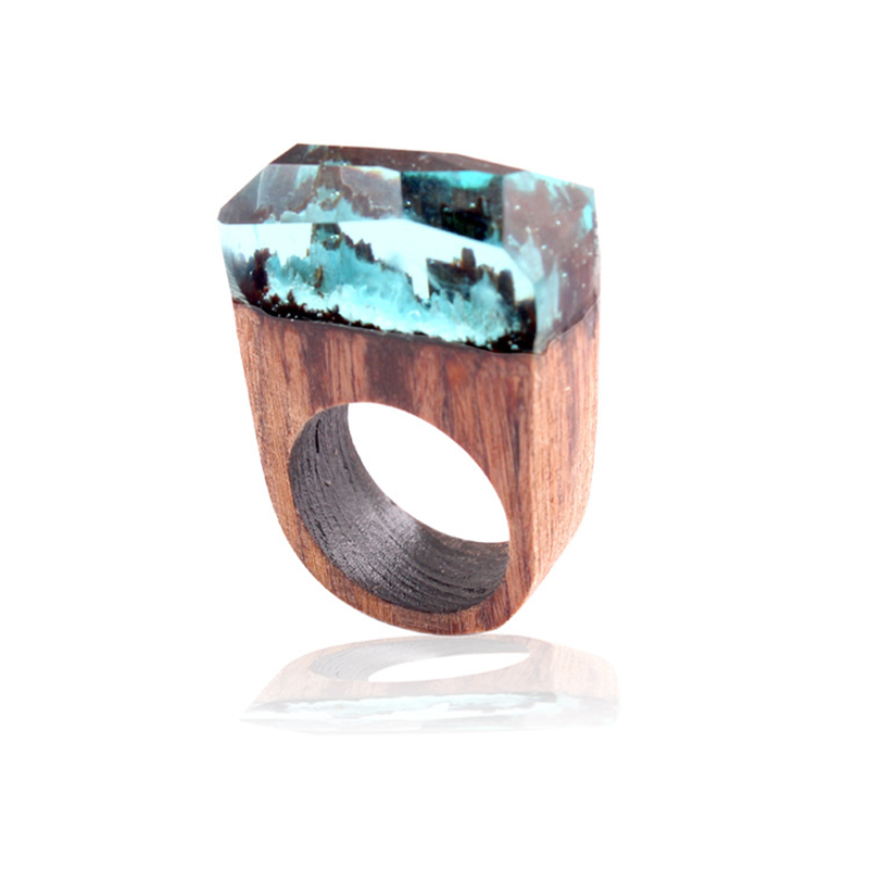 ADOMANER Fashion Wood Ring For Men  Personality National Wind Resin Rings Bijoux Fait Main Women Jewelry DropShipping Wholesale