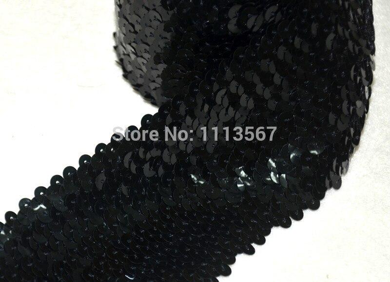 En gros 20 yard noir 8 rangées paillettes élastique garniture perlée élastique Stretch Sequin couture garniture T73