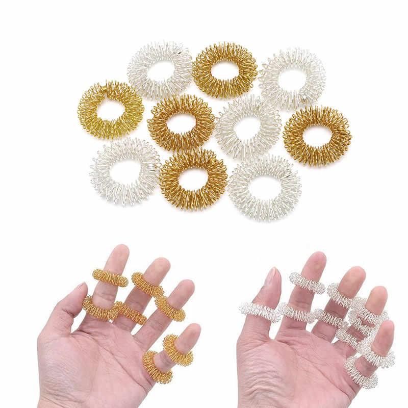 Массажные кольца на палец для тела, иглоукалывание, кольцо для здоровья, золото/посеребренное покрытие, горячая новинка