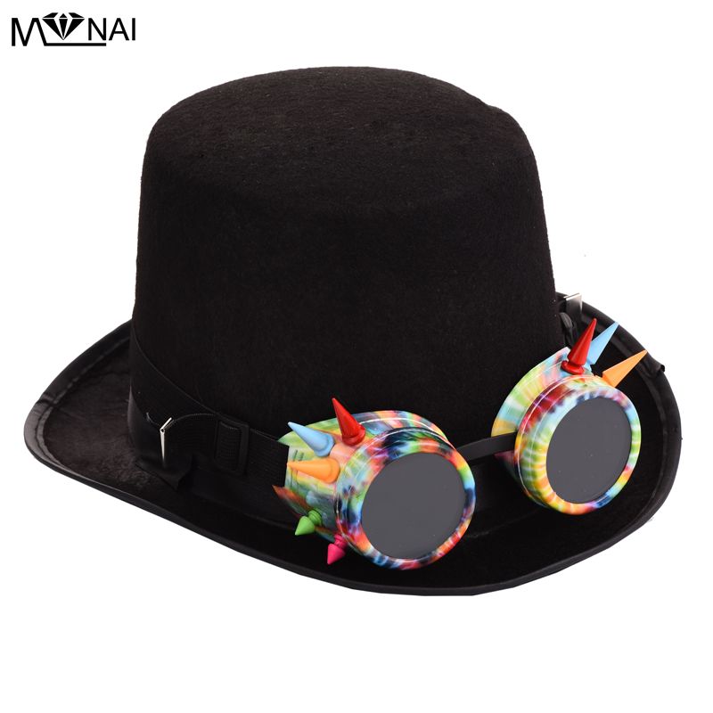 Steampunk Dazzling Colorful Goggles Black Hat Vintage Spikes Glasses Hat Steam Punk Gothic Top Hats Fedora Accessories