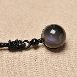 16mm Black Obsidian Rainbow Eye Beads Ball jewelry Stone Pendant Transfer Lucky Love Crystal Jewelry