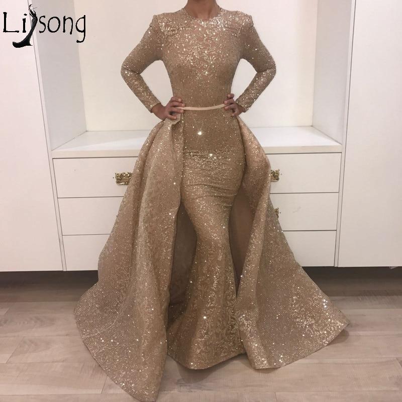 Gold Sequins Two Pieces Evening   Dress   Mermaid   Prom     Dresses   Arabic Shiny Party   Dress   Silver Musilm Women Gowns Vestido De Festa