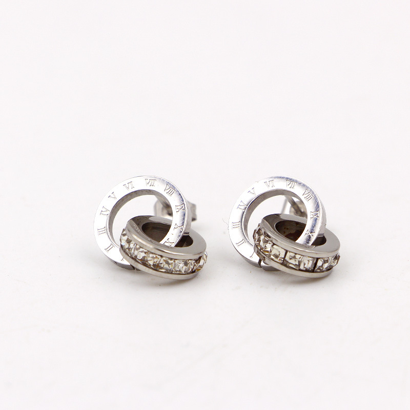 Nye super flash små krystal romerske digitale dobbeltringeøreringe - Mode smykker - Foto 5