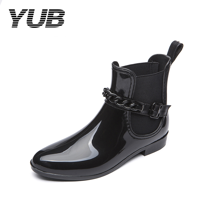 YUB Brand High Quality Women's Rain Boots with Waterproof Elastic Cross-tied Short Ankle Rainboots PVC Women Rubber Water Shoes free shipping fashion madam featherweight rubber boots rainboots gumboots waterproof fishing rain boots motorcycle boots
