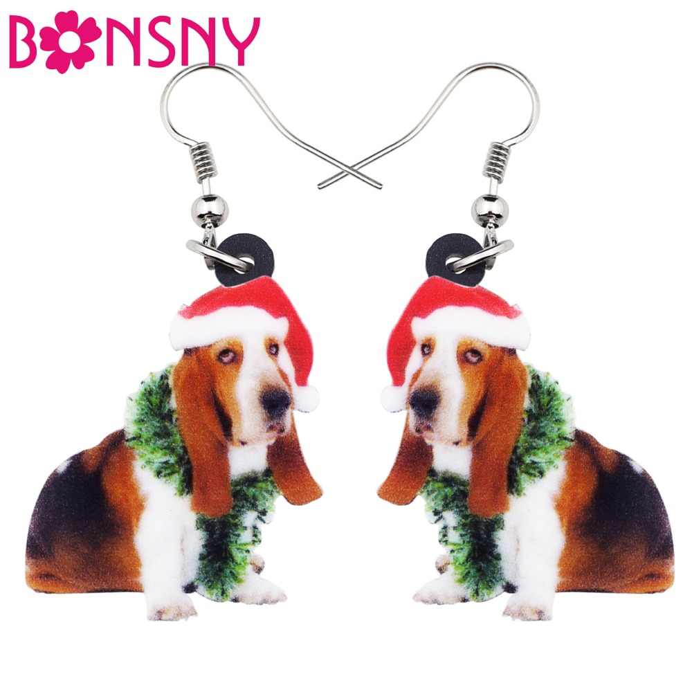 Bonsny Acrylic Sweet Christmas Basset Hound Dog Earrings Big Long Dangle Drop Novelty Jewelry For Women Girl Ladies Teens Gift