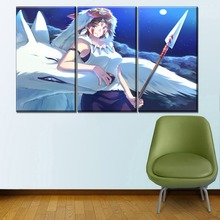 Canvas Painting Home Decor Wall Art Framework Or Framaless 3 Piece Princess Mononoke Cartoon Movie Picture Modern Print Type