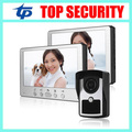 One camera two monitors village office home video door phone door intercom system 7 inch color screen IR night version door bell