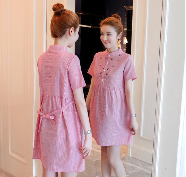 Women maternity dresses embroidery stripes pregnancy dress summer ladies pregnant clothes plus size