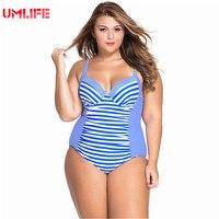 UMLIFE One Piece Swimsuit Plus Size Swimwear Women Striped Bandage Bathing Suit Large Size Tankini Swimsuits