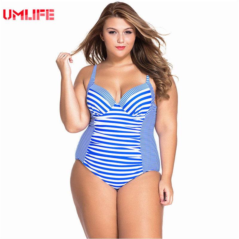 UMLIFE One Piece Swimsuit Plus Size Swimwear Women Striped Bandage Bathing Suit Large Size Tankini Swimsuits Woman plavky праймер catrice prime and fine smoothing refiner