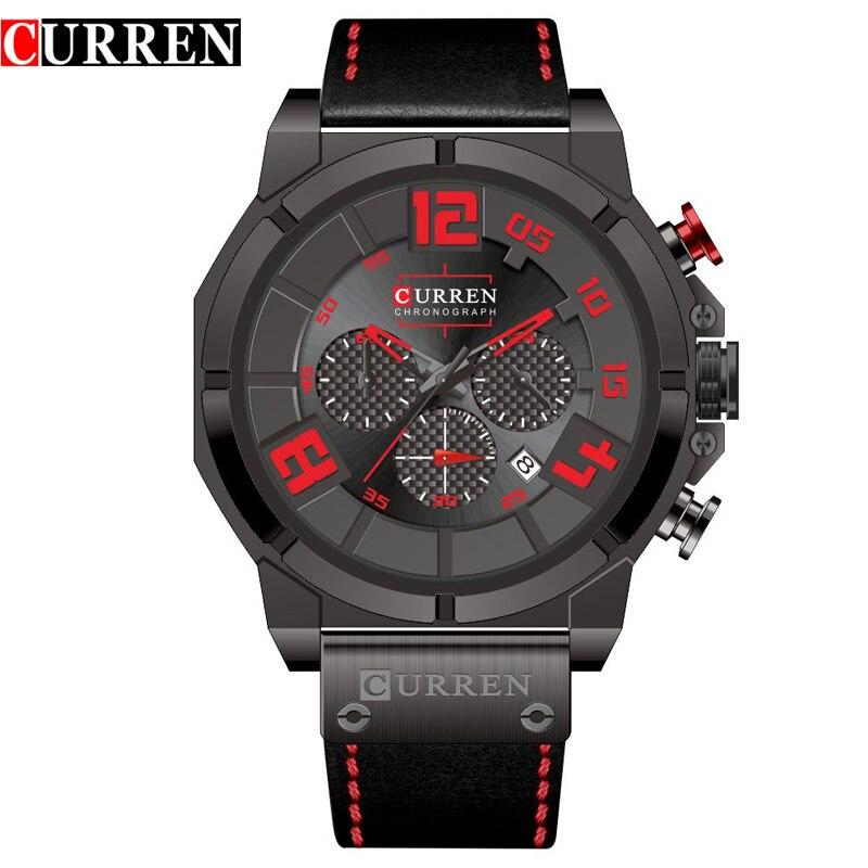 Cronógrafo de Cuarzo relojes de Los Hombres CURREN 8287 Marca de Fábrica  Superior 24 Horas Fecha 7272e706493e