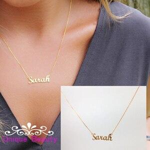 Пользовательское имя ожерелье Золото Персонализированная табличка 925 Твердое серебряное ожерелье Рождественский подарок на день рождения