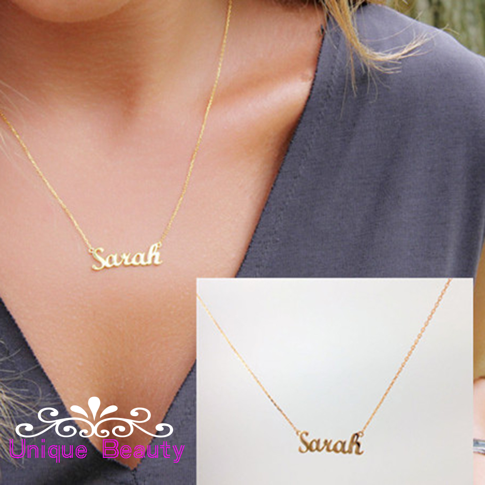Custom Name Necklace Gold Personalized Nameplate 925 Solid Silver Necklace Christmas Gift Birthday Gift