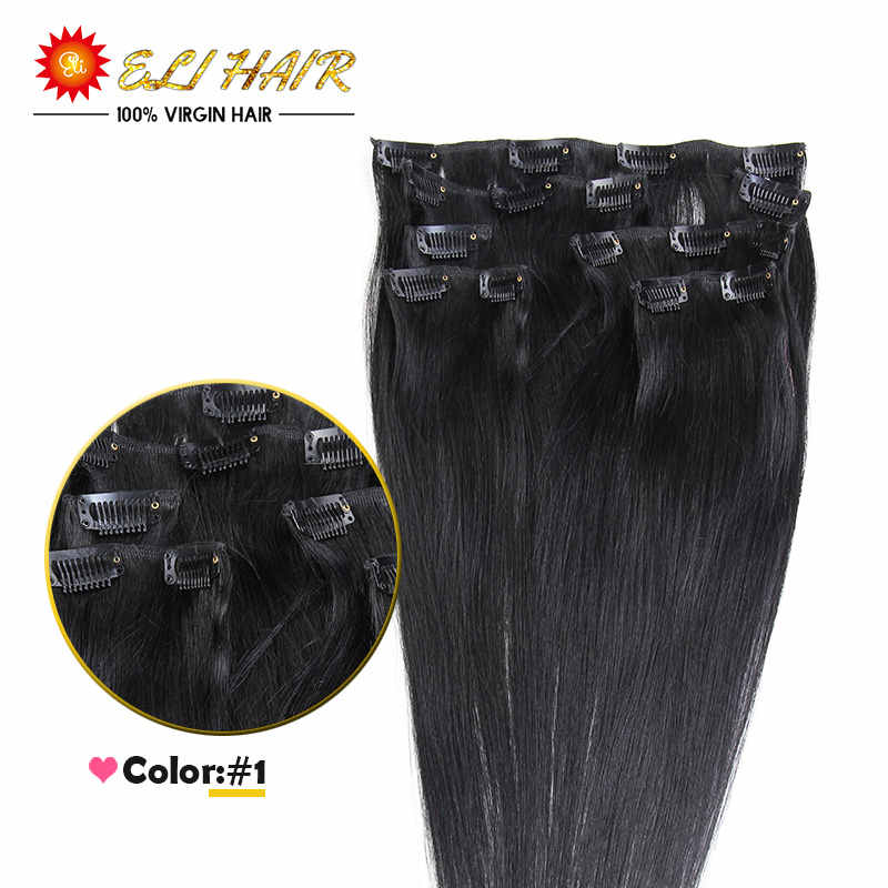 Wholesale 7A Remy Virgin 14″-24″ Brazilian Human Hair Clip In Extensions Clip In 100% Remy Human Hair Straight 70g/80g/100g/120g