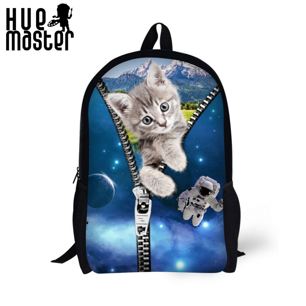 HUE MASTER Creative kittens pattern backpack Big backpack space school bags Casual and portable bag pack Discounted school bags hue starterkit