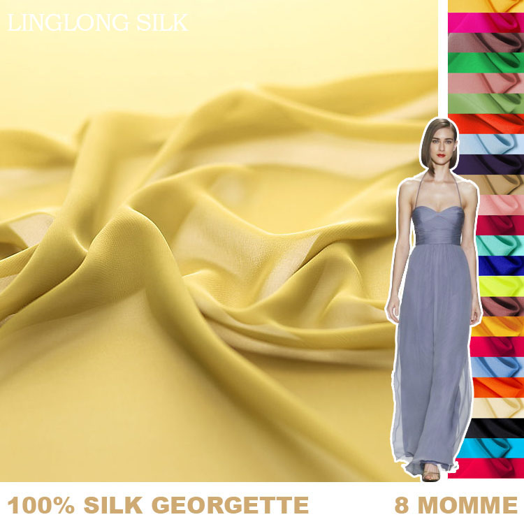 100% SILK GEORGETTE 114cm width 8momme Pure Silk chiffon silk textile fabric Factory Direct Wholesale 1M Free Shipping 31-60