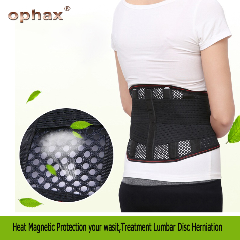 OPHAX Breathable Mesh Four Steels Plate Protection Back Waist Support Belt thermal protection treatment lumbar disc herniation double pull lumbar support lower back belt brace band waist four aluminium strips protection back waist support belt yw 01m27