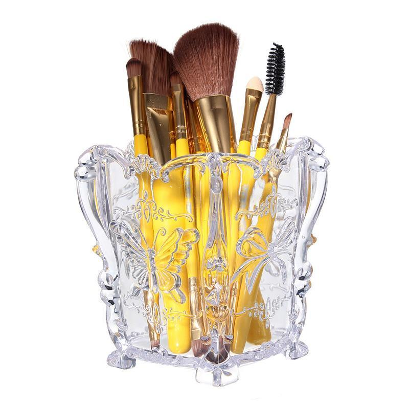 HOTsale butterfly carved brushes accommodation tub dry brush cylinder make-up tools essential Transparent Storage Box