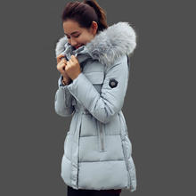 Winter Jacket Women 2015 Large Fur Collar Hooded Cotton Down Parka Female Outwear For Women's Warm Slim Jackets And Coats