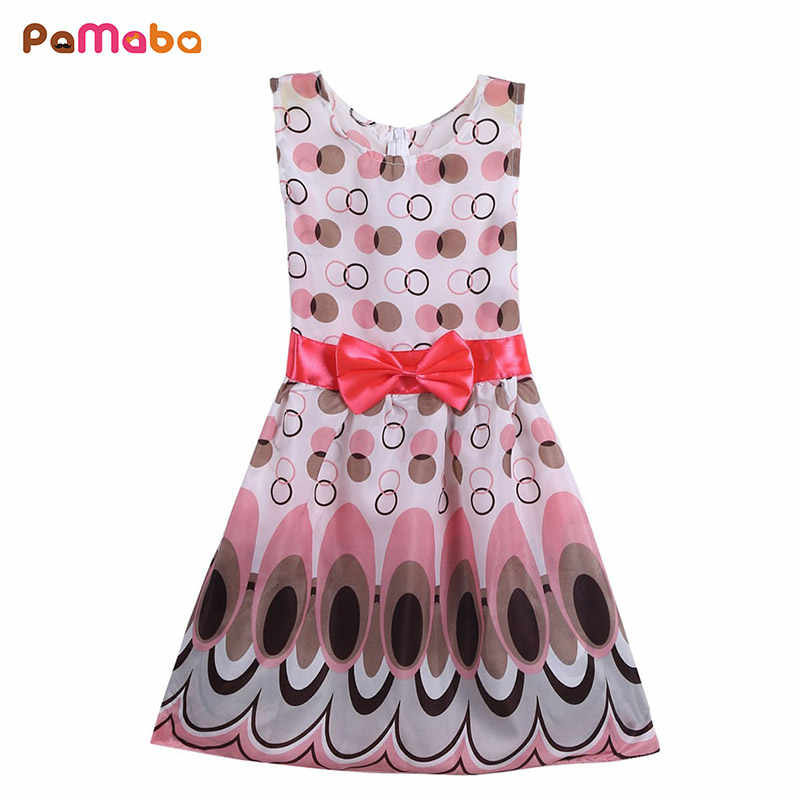 5ce8b8bce PaMaBa Summer Baby Girls Bohemia Dress Peacock Swing Print Sleeveless  O-Neck Vest Dress Children's