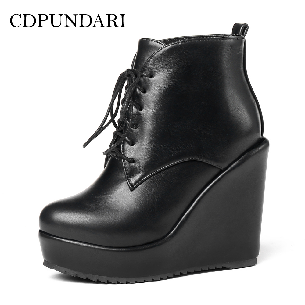 CDPUNDARI Lace Up Platform Ankle boots for Women High heel Wedges boots Ladies Winter shoes woman