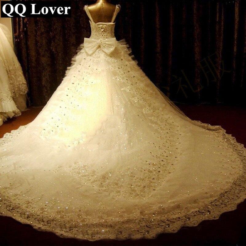 QQ Lover 2019 New Luxury Beaded Lace Wedding Dress Custom-made Plus Size Bride Wedding Gown Vestido De Noiva