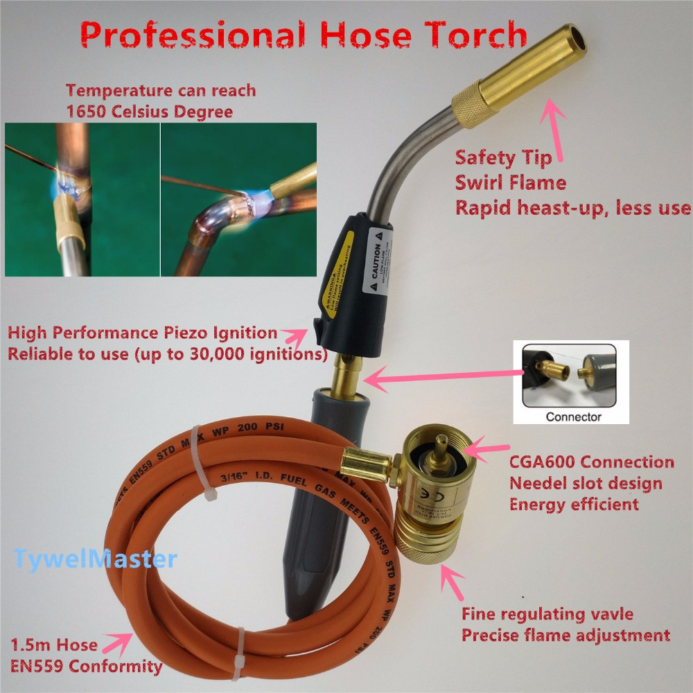 Braze Welding Torch Self Ignition 1.5m hose CGA600 connection suitable for Propane MAPP Catridge Cylinder Gas Welding Torch Heat