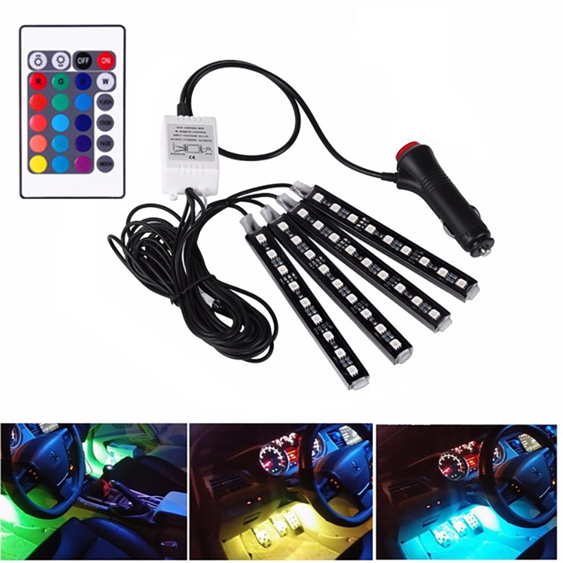 Светодиодная ленсветильник RGB для автомобиля, декоративная Гибкая цветная лампа с пультом дистанционного управления, 4 шт.