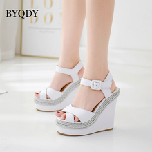 BYQDY Women Platform Sandals Gladiator Summer High heels Wedges PU Leather Shoes Ladies Open toe Silver Gold Comfortable